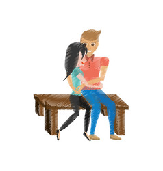 Drawing couple love embracing sitting in bench vector