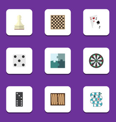 Flat icon games set of arrow chess table pawn vector