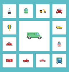 Flat icons truck streetcar automobile and other vector
