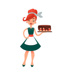 Funny cartoon housewife with cake happy vector