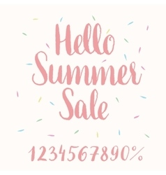 Hello Summer Sale - hand-lettering vector image vector image