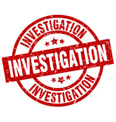 Investigation round red grunge stamp vector