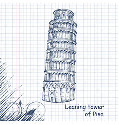 leaning tower hand drawn sketch vector image vector image