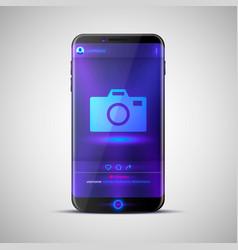 mobile social network photo frame vector image