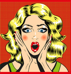pop art surprised woman face with open mouth comic vector image vector image
