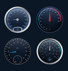 realistic detailed 3d speedometers set vector image vector image