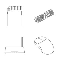Router computer mouse and other accessories vector