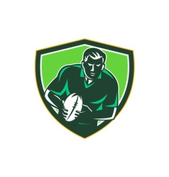 Rugby player running passing ball crest retro vector