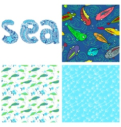 Sea set vector image vector image