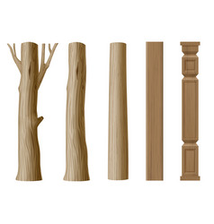 set of pillars of wood vector image vector image