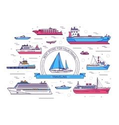 Set of thin line ship ship vector