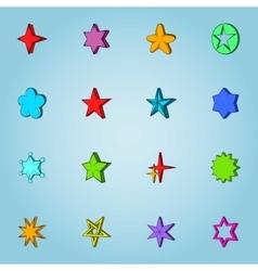 Star icons set cartoon style vector