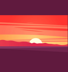 sunset landscape vector image