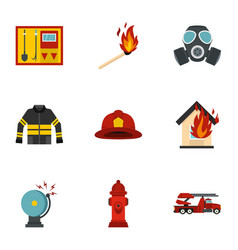 Useful fire serivice icons set flat style vector