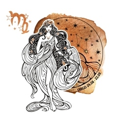 Virgo zodiac signHoroscope circleWatercolor vector image
