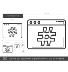 Hashtag line icon vector