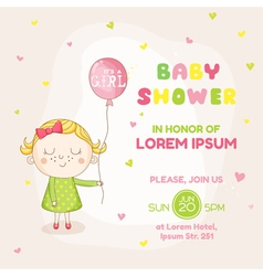 Baby girl with a balloon - baby shower card vector