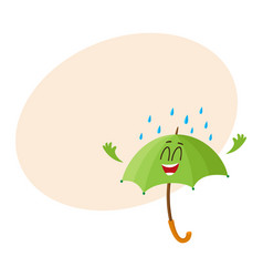 Funny green umbrella character with smiling human vector