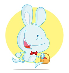 Blue rabbit running with easter eggs in a basket vector