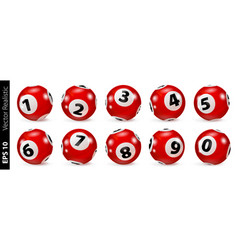 Red lottery number balls isolated vector