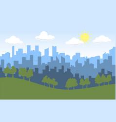 Random blue city skyline on light background day vector