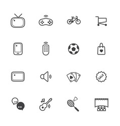 Activity and entertainment line icons set vector