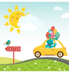 Road to happy easter vector