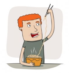 guy eating noodles vector image