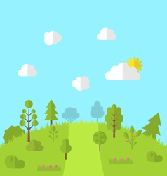 Landscape woods valley hill forest land scene view vector
