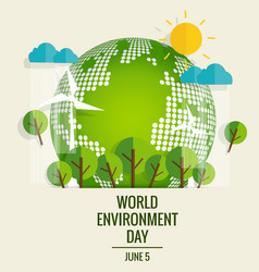 World environment day concept green eco earth vector