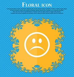 Sad face sadness depression floral flat design on vector