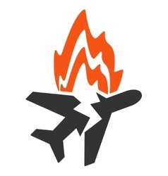Airplane burn icon vector