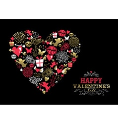 Valentines day greeting card vintage icon love vector