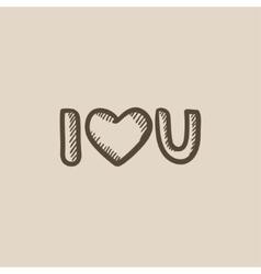 Abbreviation i love you sketch icon vector image