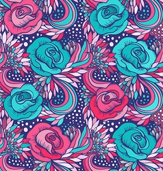 Abstract decorative vintage vivid wave and flowers vector