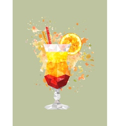 Abstract polygonal cocktail glass with watercolor vector