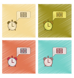 Assembly flat shading style icon book alarm clock vector