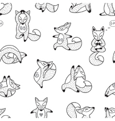 Black and white hand drawn foxes doing yoga vector