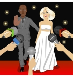 Bodyguard protecting celebrity woman vector