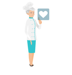 Caucasian chef cook pressing web button with heart vector