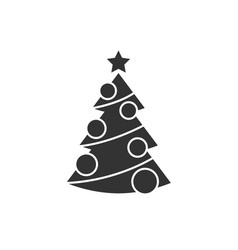 Christmas tree with decorations icon vector