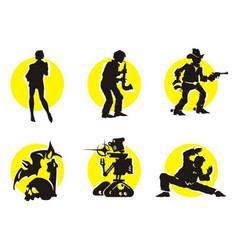 Cinema silhouettes icons girl vector