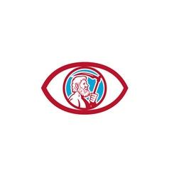 Cronus holding scythe eye retro vector