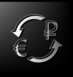 Currency exchange sign euro and russia ruble vector