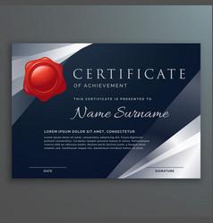 Dark certificate template design with silver vector