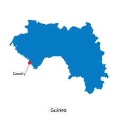 Detailed map of Guinea and capital city Conakry vector image