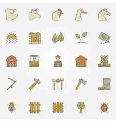 Farm colorful icons collection vector image vector image