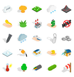 Fire icons set isometric style vector