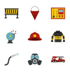 Fireman icons set flat style vector