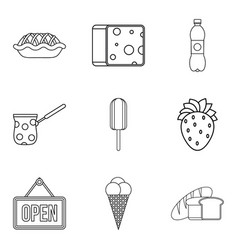 food shop icon set outline style vector image vector image